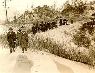 Indiana Dunes State Park - Richard Lieber (front right) with NPS Director Stephen Mather at what would become Indiana Dunes State Park in 1916