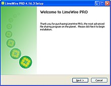 A screenshot of the installation of limewire pro that was attained via the free version of limewire