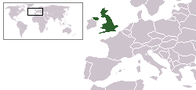 A map showing the location of the United Kingdom