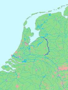 Location of river IJssel in dark blue.