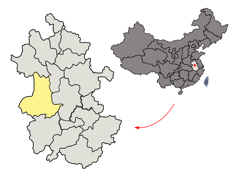 Location of Lu'an Prefecture within Anhui (China)