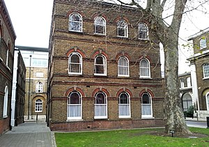 Royal Naval Armaments Depot - Building 21, Royal Arsenal, Woolwich: Headquarters of the Naval Ordnance Store Department and its successors until 1967.