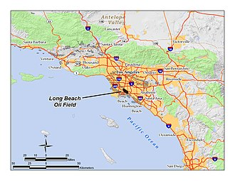 Long Beach Oil Field - Location of the Long Beach Oil Field in the context of the Los Angeles Basin and Southern California. Other oil fields are shown in dark gray.