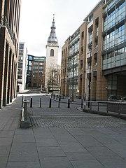 File:Looking along Distaff Lane to St Nicholas Cole Abbey
