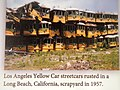 Los Angeles Yellow Car streetcars rusted in a Long Beach CA scrapyard in 1957.jpg