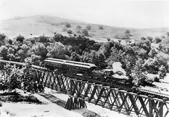 Los Angeles and San Gabriel Valley Railroad - 1885 view of the Los Angeles and San Gabriel Railroad crossing the Arroyo Seco near Garvanza - Highland Park
