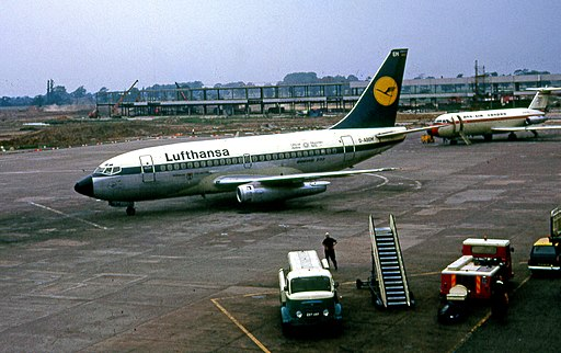 Lufthansa Boeing 737and Dan Air BAC 1-11 at Manchester Airport in 1972