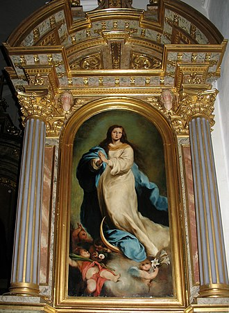 Catholic Mariology - Altar of the Immaculata by Joseph Lusenberg, 1876. Saint Antony's Church, Urtijëi, Italy.