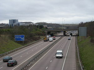 M54 motorway - The motorway as it passes through Telford – Junction 5 shown here – which was the first completed stretch of the motorway, then known as the Wellington Bypass.