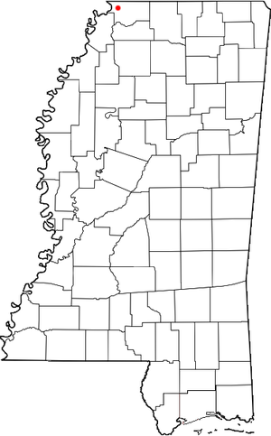 Walls, Mississippi - Image: MS Map doton Walls