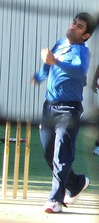 MS Dhoni - Dhoni bowling in the nets. He rarely bowls at international level.