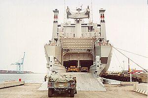 MV Cape Taylor (T-AKR-113) - Stern view ramp loading military vehicles