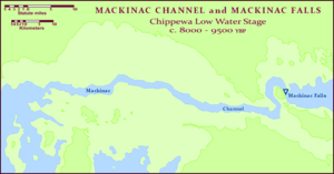 Mackinac Falls - A map of the Mackinac Channel, an incised river gorge, now submerged beneath the Straits of Mackinac, that for two millennia conveyed the waters of Lake Chippewa (Michigan) downstream into Lake Stanley (Huron), passing over Mackinac Falls en route.