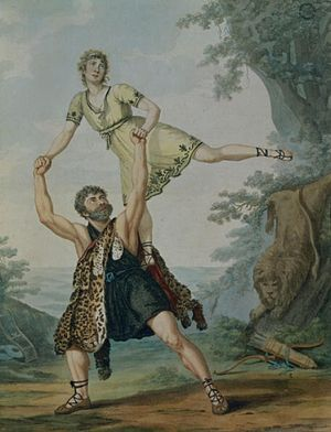 James Harvey D'Egville - André-Jean-Jacques Deshayes as Achilles and James Harvey d'Egville as Hercules in a scene from the ballet-pantomime Hercules and Deianeira from a painting by Antoine Cardon 1804.