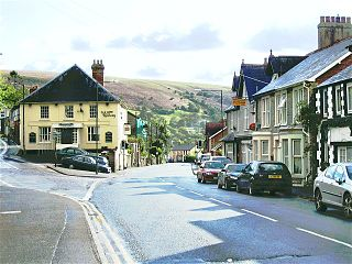 Sennybridge village in the county of Powys, Wales