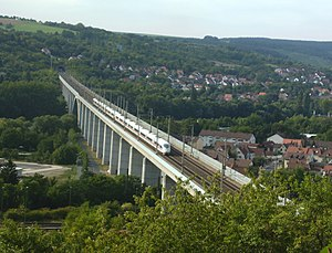 Würzburg Hauptbahnhof - Just five kilometers from Würzburg Hauptbahnhof, on the Main Viaduct, Veitshöchheim, an ICE 3 train reaches 200 km/h