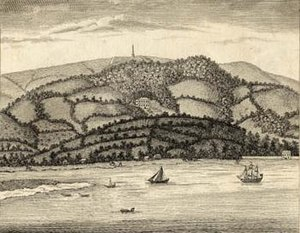 Mamhead - Mamhead Obelisk, viewed from Exmouth, c. 1790