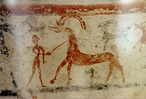 Archaeological Museum of Thebes - Image: Man and antelope, painting on larnax, Tanagra, Late Helladic III, AM Thebes, 0127