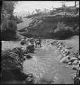 Manzanar Relocation Center, Manzanar, California. Evacuee children enjoying a hot summer afternoon . . . - NARA - 538081.tif