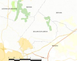 Boujan-sur-Libron - Map