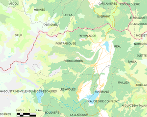 Formiguères - Map of Formiguères and its surrounding communes