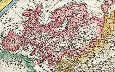 Map of Europe in 1794 Samuel Dunn Map of the World in Hemispheres.JPG