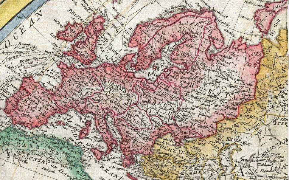 Map of Europe in 1794 Samuel Dunn Map of the World in Hemispheres