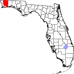 A state map highlighting Santa Rosa County in the northwestern part of the state. It is large in size.