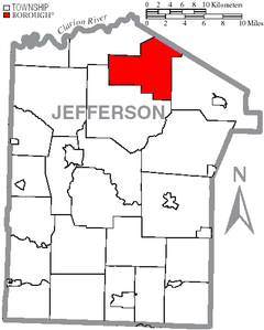 Map of Jefferson County, Pennsylvania Highlighting Polk Township.PNG