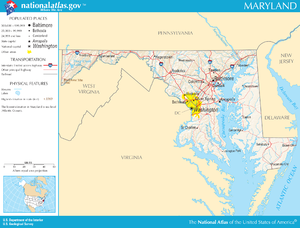 Outline of Maryland - An enlargeable map of the state of Maryland