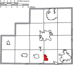 Location of Seville in Medina County
