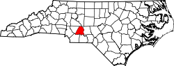 map of North Carolina highlighting Stanly County