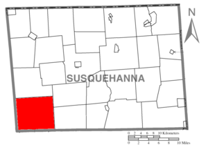 Auburn Township, Susquehanna County, Pennsylvania - Image: Map of Susquehanna County Pennsylvania highlighting Auburn Township