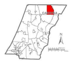 Map of Cambria County, Pennsylvania highlighting White Township