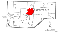 Map of Woodcock Township, Crawford County, Pennsylvania Highlighted.png