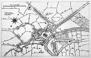 A map of Manchester from about 1650, from &quo...