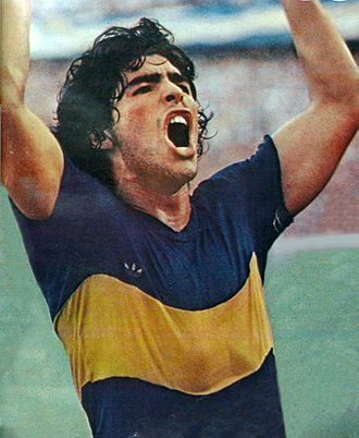 Diego Maradona - Maradona celebrating his first goal with Boca Juniors, February 1981
