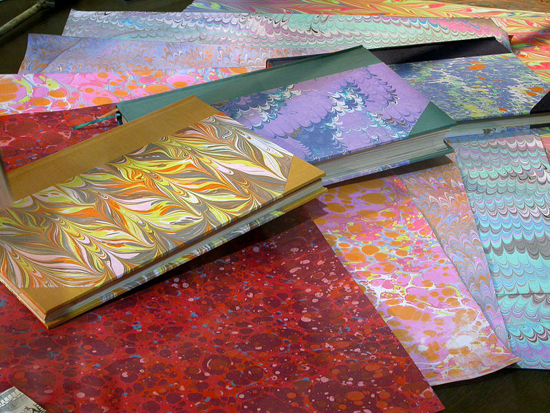 File:Marbled papers and book covers.jpg