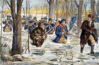 Illinois campaign - Clark's march to Vincennes has been depicted in many paintings, such as this illustration by F. C. Yohn.