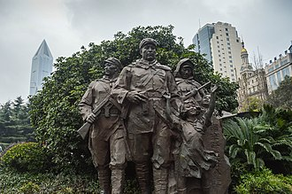 Statue of the Good Eighth Company on the Nanjing Road [zh], People's Square Marching Forward (216297289).jpeg