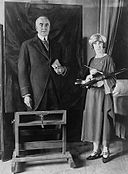 Margaret Lindsay Williams & painting of Warren G. Harding.jpg