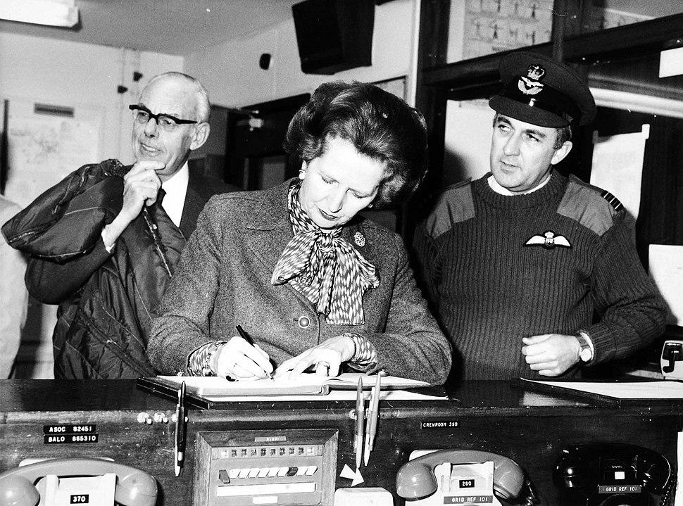 Margaret Thatcher on a visit to Northern Ireland