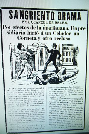 Belem Prison - Newsprint depicting trouble in Belen Prison due to marijuana use