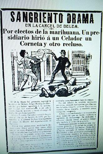 Belem Prison - Newsprint depicting trouble in Belen Prison due to marijuana use