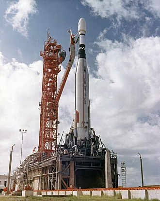 Cape Canaveral Air Force Station Launch Complex 13 - Atlas with Mariner 3 at Launch Complex 13 prior to launch on  4 November 1964