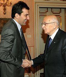 Mario Calabresi con l'ex Presidente della Repubblica Italiana Giorgio Napolitano, nel 2009