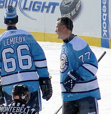 f07d59d315c Coffey skated with former Pittsburgh Penguins teammate Mario Lemieux in the  NHL Legends Game, December 31, 2010.