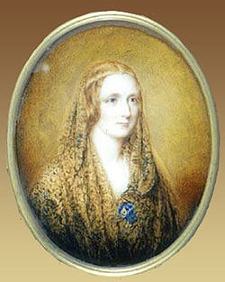Oval portrait of a woman wearing a shawl and a thin circlet around her head. It is painted on a flax colored background.