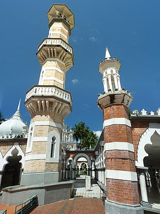 Jamek Mosque - Original part (left) and extension (right) of Jamek mosque exhibiting differently coloured bricks