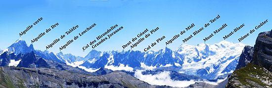 Sul massiccio del Monte Bianco (qui visto dal versante francese) l'azione degli agenti erosivi ha formato nel tempo creste acuminate e vette a guglia.   Il massiccio raggruppa quaranta cime al di sopra dei 4.000 m, con un terzo di superficie ad una quota non inferiore ai 3.000 m. Le pareti e le creste più impegnative e difficili si trovano nel versante Sud del Massiccio, lungo la Val Ferret e la Val Veny, in Valle d'Aosta, contrariamente al pensare comune.